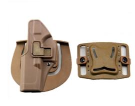 Quick Release CQC holster Glock 17 dubbele bevestiging - LINKSHANDIG  - Coyote Tan