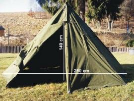 Poolse LAVVU tent met stokken set - 12 hoekig - maat 1 of 2 - origineel