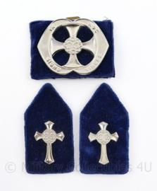 Defensie baret en kraag insigne set Legeraalmoezenier - 3 delige set - origineel