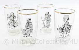 Defensie glazen jaren 70 a 80 -  SET van 4 glazen - gebruikt - 11,5 x 6 cm - origineel