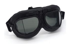Piloten bril of brommer bril - zwart frame met Smoke zwarte glazen