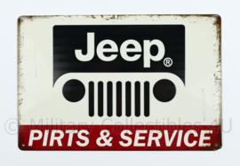 Metalen plaat Jeep pirts en Service  Willys MB - met schrijffout -  30 x 20 cm.