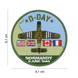 Embleem stof D-Day Normany 6 June 1944  - 9,1 cm. diameter - Horsa glider