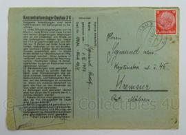 WO2 Duitse postkarte 1940 - konzentrationslager Dachau 3k - afmeting 11,5 x 16,5 cm - origineel
