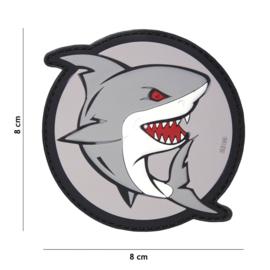 Embleem PVC 3D PVC met klittenband - Attacking Shark Grijs / rood- 8 x 8 cm.