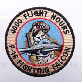"""KLu Koninklijke Luchtmacht embleem F-16 Fighting Falcon """"4000 flight hours"""" - met klittenband - diameter 10 cm"""