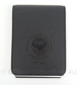 ISAF organiser met notitieblok - zwart leder - 12 x 17 cm - origineel