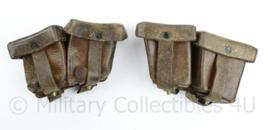 Wo2 Steyr M95 Mannlicher Oostenrijks Duits patroontassen paar - Gustav Reinhard Berlin gedateerd 1930 - donkerbruin leer - 17 x 9 x 5 cm - origineel