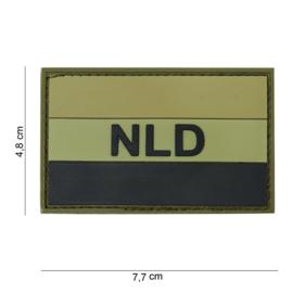 "Uniform landsvlag  met klittenband Nederland embleem 3D PVC met tekst ""NLD"" Groen/Zwart - 7,5 x 4,7 cm"