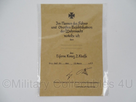 WO2 Duitse oorkonde ijzeren kruis - 2e klasse 1939 - replica