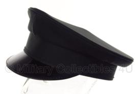 Politie platte pet - zonder insigne - Zwart glad wol, grijs gestreepte voering - maat 57 of 58 cm - origineel