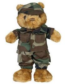 Teddybeer klein 33 cm. met woodland uniform