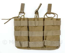 Defensie en Korps Mariniers en US Army Coyote Molle pouch triple magazin M4 en Diemaco - merk Voodoo Tactical - 15x 23 x 2,5 cm - origineel