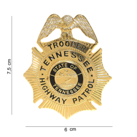 Tennessee Highway Patrol Trooper's Badge goud - 7,5 x 6 cm