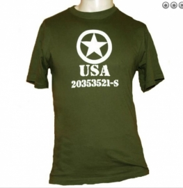 T shirt groen met USA opdruk wit - 100% katoen