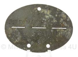 WO2 Duitse erkennungsmarke - Feld Maschinen amt 7  - persoonsnummer 281 - origineel