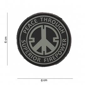 Embleem 3D PVC Peace through superior fire power - rond -  klittenband - 6 cm. diameter