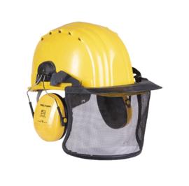 Veiligheidshelm (bosbouw) met vizier en gehoorbescherming - meerdere kleuren/ merken - origineel