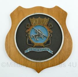 """Koninklijke Marine wandbord - School voor de Eerste Maritiem Militaire Vorming - """"Constantia et Fide"""" - afmeting 16 x 16 x 1 cm - origineel"""