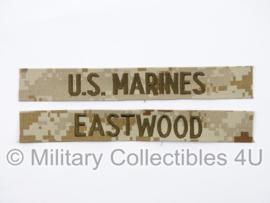 USMC US Marines 'EASTWOOD' branch tape/naamlint SET - marpat desert camo - nieuw gemaakt