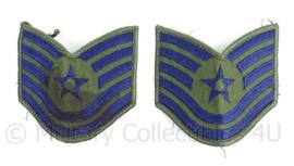 US Air Force USAF rangen set Technical Sergeant - afmeting 9 x 9 cm - 1 rang heeft een vlek - origineel