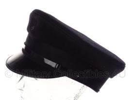 Politie platte pet - zonder insigne  -  Zwart grof wol, Zwarte voering - maat 56 tm. 58- origineel