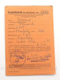 "Duitse ""ersatzkarte fur arbeitsbuch"" - 1944 - Origineel"
