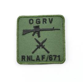 Klu luchtmacht OGRV RNLAF Object Grondverdediging 671 squadron borstembleem - met klittenband - 5 x 5 cm - origineel