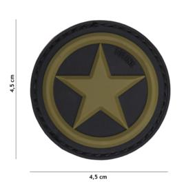Embleem 3D PVC met klittenband - USA Star - groen/zwart - 4,5 cm diameter