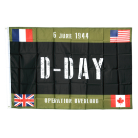 Vlag Operation Overlord D-Day 6 June 1944  - Canadian French, USA & English flags