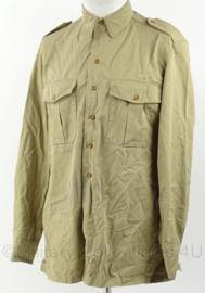 KM Marine Korps Mariniers khaki dik overhemd lange mouw met embleem - maat 39 - origineel