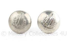 1 PAAR Gemeentepolitie knoop voor de kinriem van de pet 16 MM zilver - per PAAR  - origineel
