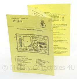KL Landmacht  instructiekaart Radiologische meetuitrusting KL PDR 7000 - IK 11-245 - 15 x 21 cm - origineel