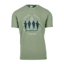 T-shirt Brothers in Arms - Groen - maat Small t/m XXL