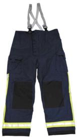 Brandweer broek - Blauw met gele reflectiestrepen - gebruikt  - maat S (valt als M) origineel