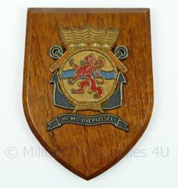 Koninklijke Marine wandbord - Hr. Ms. Overijssel - afmeting 19 x 14 x 1,5 cm - origineel