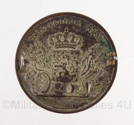 KL Trouwe Dienst medaille vermaakt tot insigne - zilver - Wilhelmina oude versie ! - origineel