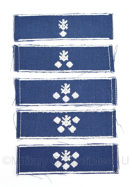 DDR NVA rang embleem set van 5 verschillende Gesellschaft fur sport - origineel