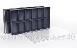 Vitrine doosje voor insignes en speldjes  - 19,5 x 10,5 x 1,5 cm - stapelbaar - meerdere beschikbaar