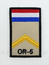 KL Nederlandse leger OR-5 Sergeant rang op klittenband missie embleem - 8 x 6 cm