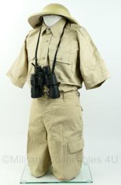 Jungle Safari man tropen kledingset overhemd, broek en helm 3-delig - meerdere maten - leuk voor Carnaval!