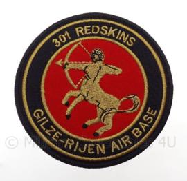 "KLu Koninklijke Luchtmacht Gilze Rijen Air Base embleem ""301 Redskins"" -  met klittenband - diameter 10 cm"