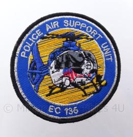 "Nederlandse Politie Air Support Unit ""EC 135"" embleem -  met klittenband - diameter 9 cm"