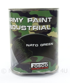 Verfblik 1 liter - met deuk - kleur Nato green - nieuw - origineel