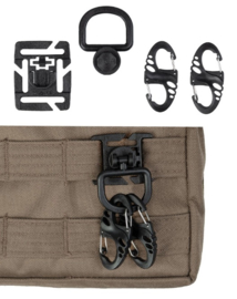 Tactical S hook (4 stuks) & D ring (2 stuks) set  - groen, zwart of coyote