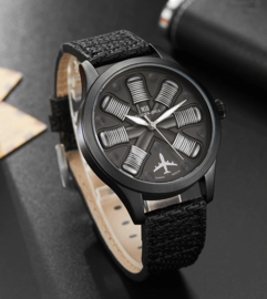 Pilot Aircraft engine Design watch - horloge met zwarte band
