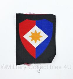 Defensie eenheid mouw embleem op zwarte ondergrond  ongevouwen Officieren van de staf van het 1e legerkorps - model tot 2000 -  9 x 7 cm - origineel