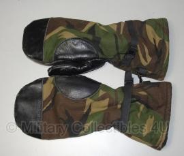 KL gevoerde winter handschoenen wanten zwart leer met woodland - maat 8, 9 of 10 - origineel