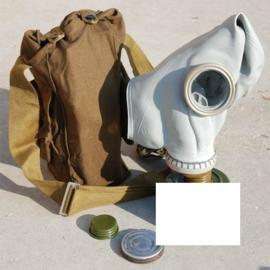 Russisch grijs gasmasker met tas (zonder filter) - ter decoratie - origineel