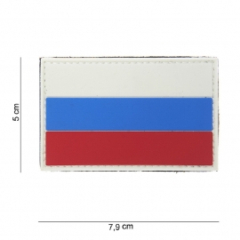 Uniform landsvlag Rusland embleem 3D PVC vlag  -  klittenband - 7,9 x 5  cm